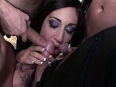 Eloa Lombard lets Ian Scott shove his throbbing fuck stick in her mouth after anal fun