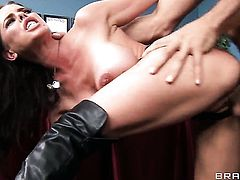 Brandy Aniston with massive tits fulfills her anal desires with hard cocked guy Ramon