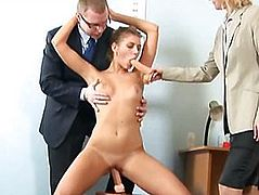Hardcore job interview for young secretary