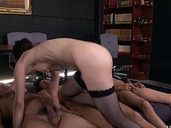 Spoiled Japanese fairy in fishnet stockings pleases a bunch of kinky dudes at a time. She mouth fucks their sturdy cocks before riding them in turns in cowgirl positions in gangbang sex clip by Jav HD.