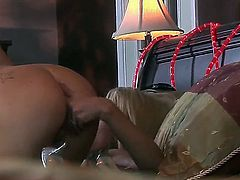 Sexy lesbian babes Cassie and playmate lick each others cunts before fucking with huge toys