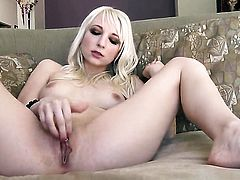 Ashley Jane with small boobs and hairless pussy takes her fingers in her muff