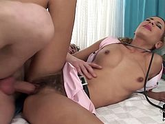 Nasty dark haired bitch in nurse uniform enjoys getting her delicious hairy pussy railed on her side from behind. Dude eats her dirty asshole and fucks her doggystyle.