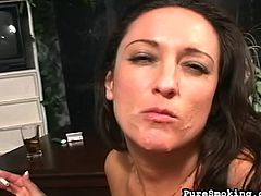 Smoking and sucking cock makes her feel awesome and give a great blowjob