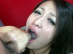 Spoiled Japanese amateur stands on her knees in front of 2 kinky dudes welcoming two stiff penises in her mouth for simultaneous blowjob in sizzling hot MMF sex video by Jav HD.