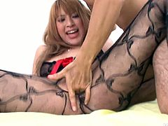 Insatiable dude cannot take his hands and mouth off the sizzling Japanese babe in fishnet bodystocking. He stretches her fresh pinkish vagina with fingers before he pokes it through a hole in pantyhose.