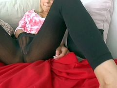 Alice Amore is an attractive playful blonde hottie. She rubs her snatch with her black leggings on before she takes dick in her mouth. She sucks dick dry from your point of view.