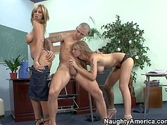 Brooke Banner and Julia Ann enjoys in getting their hands on the same cock during their gathering and enjoy in making a nasty and arousing threesome with lots of blowjobs