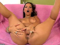 Brunette Eve Angel cant live a day without playing with her beaver
