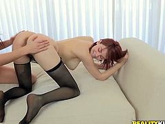 Two petite lesbian cuties pelase each other. They have a smooth small dildo and it is going in the asses of each chick one by one!