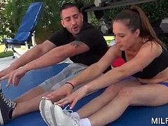 Superb MILF doing her work out seduces her fitness trainer outdoor