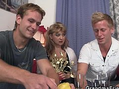 Check out these horny students picking up an older lady and sticking their cocks up her mouth. She takes it up her hairy muff!