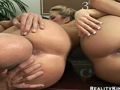 Brooke Haven and her captivating GF are getting naughty with some horny man. They favour him with an awesome blowjob and then welcomes his mighty rod in their hot coochies.