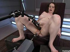 check out Tessa, isn't she beautiful? Her milky white skin, healthy thighs and those sexy breasts are surely making Tessa a cutie. The only problem with this bitch is that she's hard to satisfy but our fucking machines will do the job! Tessa tries the rodeo sex machine and then she uses a heavy category one