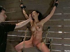 Naughty Asian girl gets tied up to the wall and toyed. Later on she also sucks a cock and gets fucked rough.