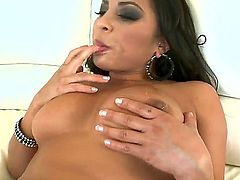 Busty dark haired bitch Adriana Luna with bog ass and heavy make up gets nailed hard by turned on studs Jonni Darkko, Mark Ashley and Winston Burbank all over the living room.