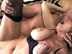 Very sinful, so sexual, playful and passionate hottie Karen Kougar stays in black stockings and black high heels. The busty cougar spreads legs and gets nailed.