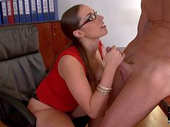 Paige Turnah is a bossy brunette with big melons. Four-eyed woman in red dress pulls out her knockers and takes co-workers dick deep down her throat on her knees. Watch lady boss give head.