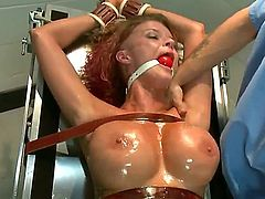 Joslyn James is well known for her love affair with Tiger Woods.  She does her first hardcore bondage and domination scene for SexandSubmission.com and gets double penetrated by James Deen and Mr. Pete. Here, Joslyn James explores her sexuality through pain and humiliation.  Strapped down to a gynecological chair, she cries from intense orgasms!  Watch Joslyn James get tied up and fucked hard in her ass in this hot role-play update!