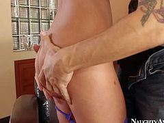 Presley Hart is slutty brown haired young girl that bares her natural tits and gives blowjob to her sisters brother. Then hottie with small perky ass takes off her panties and gets her twat tongue fucked.