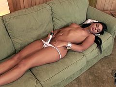 Astonishingly beautiful girl with black color hair, tempting fit body and tight pussy is filming in a spicy solo masturbation video. She inserts smooth tool in her pussy hole poking it actively. She moans with pleasure as the stick goes deep in the vagina. X-rated DDF Networks clip presented specially for you.