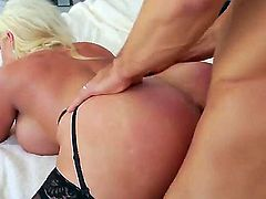 Alura Jenson is one busty milf who loves to ride Johnny Castles cock like she is crazy