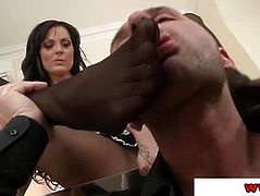 Sheila Grant in stockings teasing with feet
