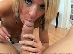 This mommy loves to suck cock and in this POV you'll see her doing just that as she also deep deep throats this guy's boner.