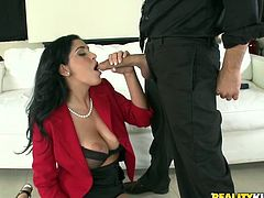 Sexy brunette chick gets her feet, pussy and ass licked at a business meeting. After that she takes her clothes off and gets fucked on a sofa. Then this babe gets her mouth filled with cum.