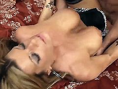 Hot blonde MILF is given a pussy licking before she is fucked by a big dick in her wet tight pussy.