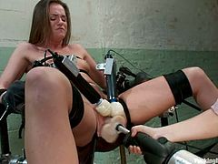 The beautiful babe Tori Black is going to orgasm plenty without fighting the pleasure as she's strapped to a chair while fucled and toyed by machine.