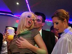Alluring white hussies take part in insane group sex orgy where they get totally drunk before they stand on their knees to mouth fuck perky dicks of their colleagues in peppering group sex video by Tainster.