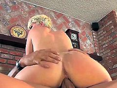 Sexy blonde gets her pussy worked on by a big cock as she gives him a deepthroat blowjob