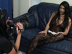Indian Sex Lounge XXX clip provides you with two voracious slender brunettes. One gal is dressed like a cop and interviews the other hottie in black tight dress. What's for to waste time on talking? So zealous girlie shows her natural tits with fist nipples right on the couch to lure the lesbo for sex.