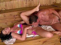 Fit and sexy girl is screwed hardcore in a steamy sauna