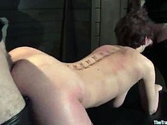 Big-breasted bitch Cherry Torn is having fun with insatiable dude Maestro. The guy ties her up and plays with her big tits before destroying her snatch with his dick.