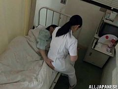 Sex hungry Japanese nurse undresses and gives passionate blowjob to the patient. After that she gets her pussy fucked hard.