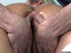 The guy is giving his very best and rubbing her nice pair of big boobs with cherry like nipples on them after oiling her up. Now its the turn of pussy and this big dick man is giving a hell of a pleasing rub and fingering her pussy and making her feel that she is in heaven. Will she let him fuck her?