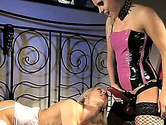 Blonde satisfies her sexual needs and desires with Brandy Smile