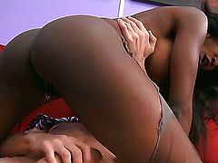 Sexy ebony gets her pussy and ass worked on by a big cock as she gives a deepthroat blowjob