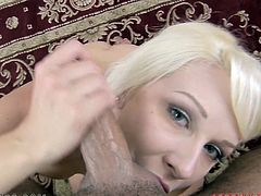 Busty blonde milf Stevie Shae strips and demonstrates her terrific jugs to some guy. Then she kneels in front of him and begins to suck and rub his prick.