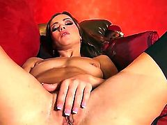 Alyssa Reece with tiny breasts and trimmed cunt makes her sexual fantasies come true in solo action