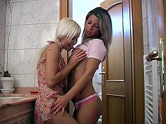 Well, there's nothing hotter and more pleasant than watching two mesmerizing blondies pleasing each other in My Sexy Kittens xxx clip. Wondrous gal with sweet tits spreads legs wide right in the bathroom while the other cutie polishes her wet pussy with a dildo passionately causing her loud moans.