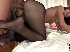 That man tears up her pantyhose and starts pounding her pussy doggy style. Lovely brunette enjoys that banging and doesn't care about her ruined pantyhose.