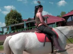 Stunning brunette pornstar babe Aletta Ocean enjoys in showing her sexy body and tight ass while riding a horse on a ranch and gets recorded by a camera crew