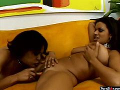 Pornstar sex clip provides you with awesome slim and already naked dark skinned lesbos. Both chicks with droopy tits are on the couch and desire to polish cunts with orange dildos to reach orgasm right away.