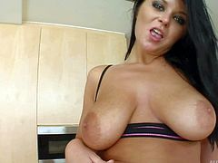 Christina is a curvy brunette with abnormally big natural tits. She shows off her heavy boobs as she gets tag teamed. Busty Christina gets double fucked and then shows her creampie.