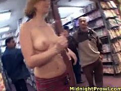 Pornstar sex clip provides you with a lewd blondie. Short haired nympho is in the sex shop. She wears too short skirt and now bra or top. Pale nympho with natural a bit droopy tits wanders along the shop with the hope to win stiff dicks for a fuck.