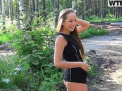 Blonde slut Albina enjoys having young hunk drilling her tight pussy in outdoors