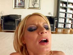 Turned on slutty blonde Angy with dark heavy make up and long legs in stockings only gives head to tall handsome lover and gets fucked in the ass on the floor